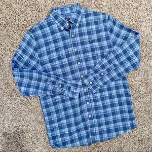 Vineyard Vines Men's Whale Shirt Blue Plaid Check